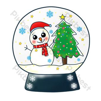navidad lindo pintado a mano dibujos animados bola de cristal muñeco de nieve arbol de navidad png Elementos graficos Modelo PSD