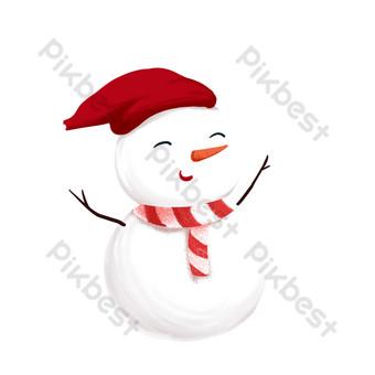 diseño de muñeco de nieve sonriente lindo de navidad Elementos graficos Modelo PSD