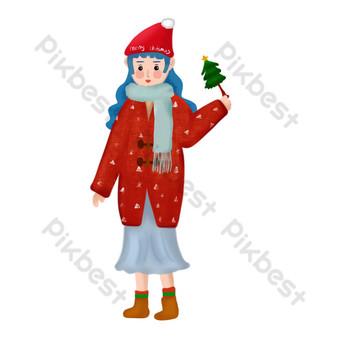 Fille de Noël portant un chapeau de Noël illustration dessinée à la main couverture de dessin fille de Noël Éléments graphiques Modèle PSD