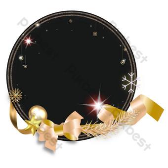 Carte de voeux de Noël bordure or noir Éléments graphiques Modèle AI
