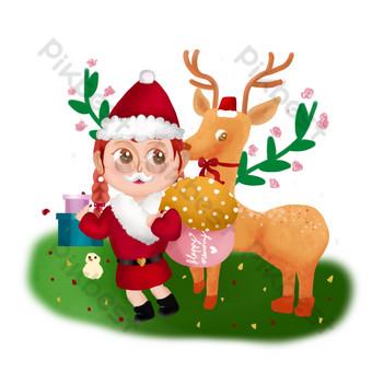 Noël illustration dessinée à la main illustration couverture fille de Noël Éléments graphiques Modèle PSD