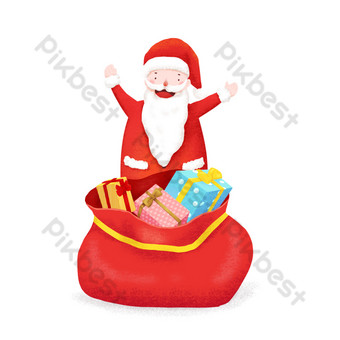 Christmas hand drawn illustration santa claus send gift element PNG Images Template PSD