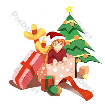 Christmas illustration of a little boy receiving gifts PNG Images Template PSD