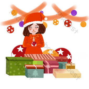Christmas little girl receiving gifts illustration PNG Images Template PSD
