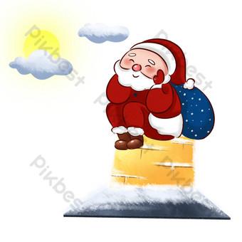 navidad santa chimenea dando regalos Elementos graficos Modelo PSD