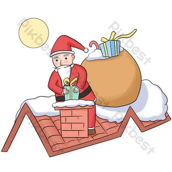 navidad santa chimenea ilustración Elementos graficos Modelo PSD