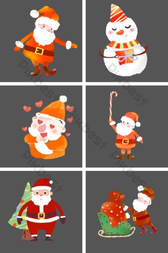 navidad santa claus navidad muñeco de nieve regalo coche estilo crayón sin hebilla Elementos graficos Modelo PSD