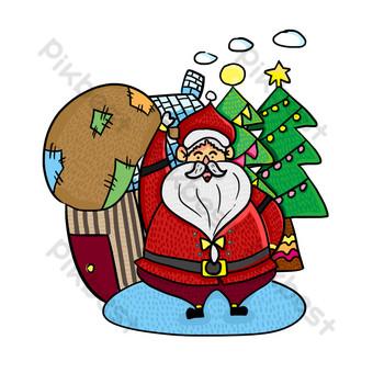 navidad santa claus regalo ilustración lindo elemento de diseño Elementos graficos Modelo PSD