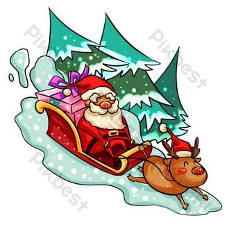 navidad santa claus da regalos trineo coche dibujado a mano ilustración Elementos graficos Modelo PSD