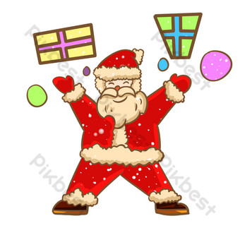 Christmas Santa Claus happy to send gifts PNG Images Template PSD