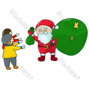 navidad santa claus presente regalo dibujado a mano psd en capas Elementos graficos Modelo PSD