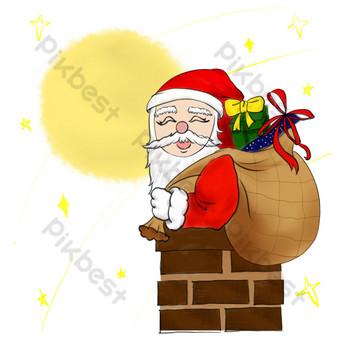 navidad santa claus presenta chimenea dibujos animados dibujados a mano Elementos graficos Modelo PSD