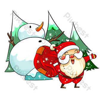 navidad santa claus presenta muñeco de nieve dibujado a mano ilustración Elementos graficos Modelo PSD