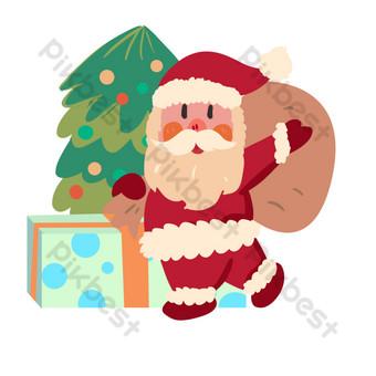 Christmas santa claus send christmas tree illustration PNG Images Template PSD