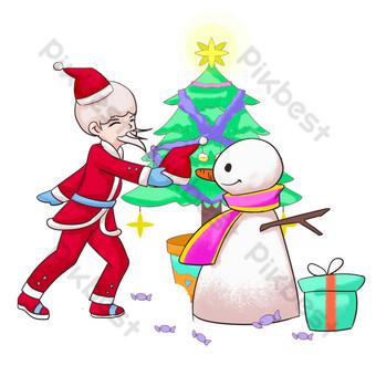 navidad santa claus muñeco de nieve dibujado a mano Elementos graficos Modelo PSD