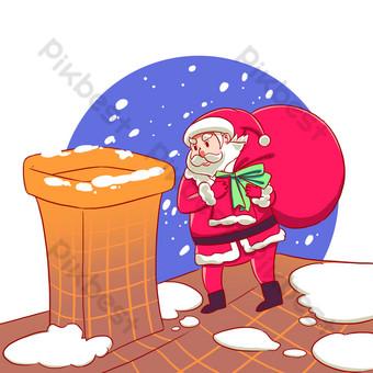 navidad santa entregando regalos nevando chimenea Elementos graficos Modelo PSD