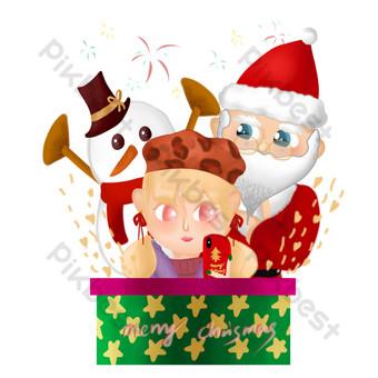 Noël père noël bonhomme de neige illustration dessinée à la main illustration créative couverture fille de noël Éléments graphiques Modèle PSD