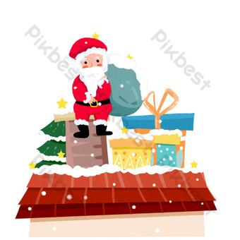escena navideña santa dando regalos a la chimenea del techo Elementos graficos Modelo PSD