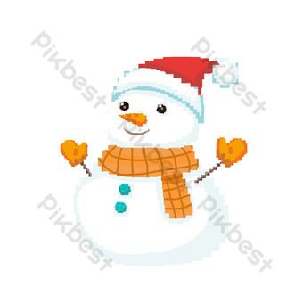 navidad sonriente muñeco de nieve pixelado elementos comerciales de diseño Elementos graficos Modelo PSD