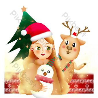 Illustration de texture de Noël couverture de carte de voeux élan fête de l'arbre de Noël Éléments graphiques Modèle PSD