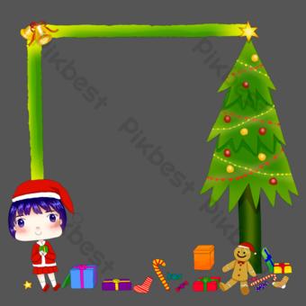 Noël arbre frontière dessiné à la main personnage de dessin animé carte de voeux cadeau PNG Éléments graphiques Modèle PSD