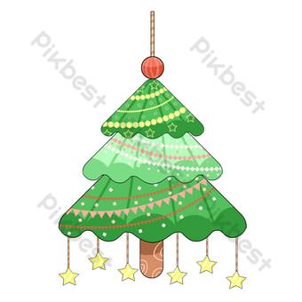 Ornements d'arbre de Noël pleins d'étoiles Éléments graphiques Modèle PSD