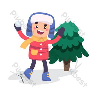 navidad invierno día de nieve lanzando bola de nieve niño ilustración Elementos graficos Modelo PSD