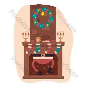 navidad invierno ilustración santa chimenea casa Elementos graficos Modelo AI