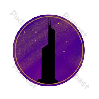 صورة ظلية مدينة هونغ كونغ برج بنك الصين الأرجواني بسيط بدون أزرار صور PNG قالب PSD