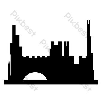 ciudad silueta png Elementos graficos Modelo PSD