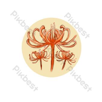 acuarela clásica roja otra orilla flor hermoso vector comercial elemento comercial Elementos graficos Modelo PSD