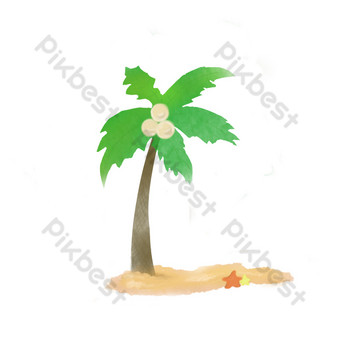 Coconut tree coconut seaside summer beach comfortable starfish free PNG Images Template PSD