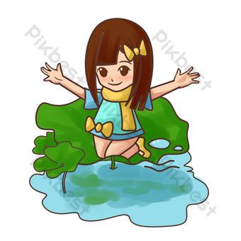 niña de rocío frío jugando ilustración de corriente Elementos graficos Modelo PSD