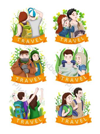 十月黃金周旅行手繪插圖的集合 元素 模板 PSD