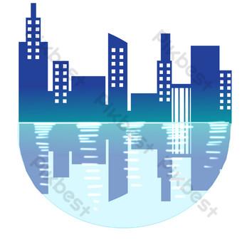لون صورة ظلية مباني المدينة صور PNG قالب PSD