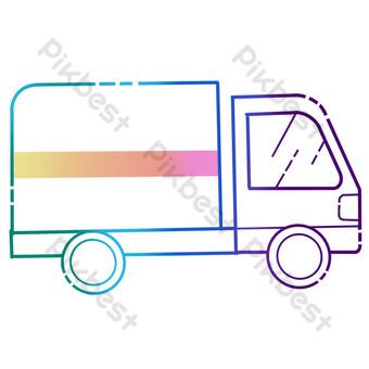 elemento colorido icono de transporte camión pequeño Elementos graficos Modelo PSD