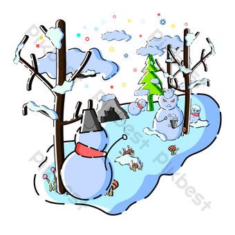vector comercial estilo mbe escena de bola de nieve de invierno Elementos graficos Modelo AI