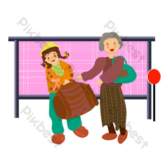 Community service hand drawn cartoon style helping elderly people take luggage PNG Images Template PSD