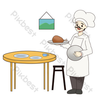 cooking serving chef illustration PNG Images Template PSD
