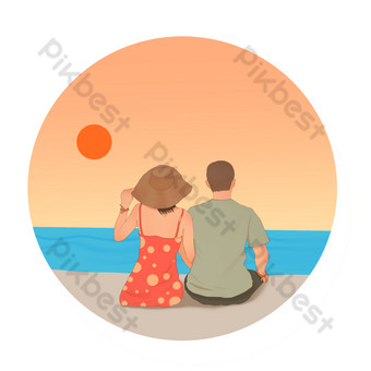 Couple by the sea PNG Images Template PSD