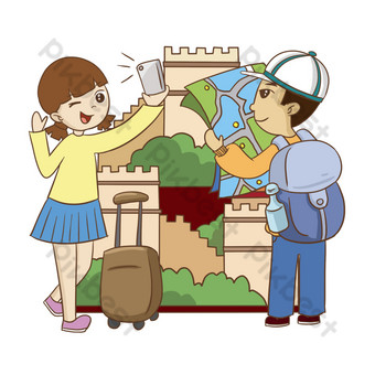 Creative cartoon outdoor travel selfie illustration PNG Images Template PSD