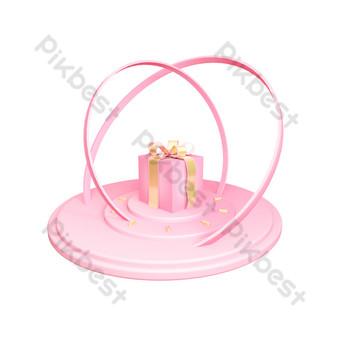 創意粉色舞台禮品盒背景 元素 模板 PSD