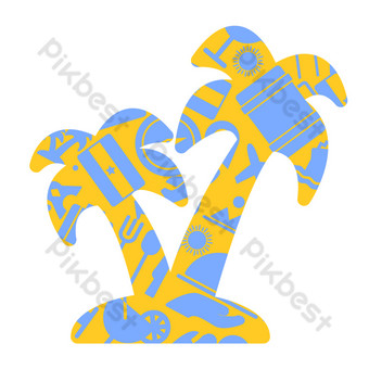 Creative seaside coconut tree decoration PNG Images Template AI
