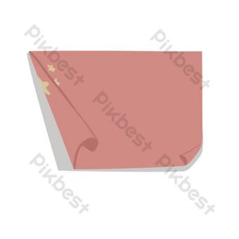 捲曲的五顆星紅旗卡通png圖片 元素 模板 PSD