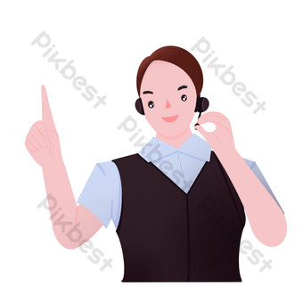Customer service staff guide gestures PNG Images Template PSD