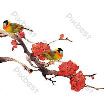 милая птичка на ветке свободный вырез Графические элементы шаблон PSD