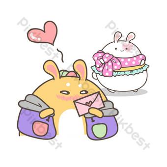 lindo conejo lindo de dibujos animados recibiendo carta de amor Elementos graficos Modelo PSD