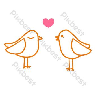 pájaro de amor de dibujos animados lindo Elementos graficos Modelo PSD