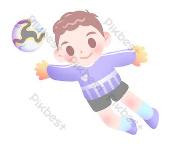 Illustration de gardien de but de football mignon Éléments graphiques Modèle PSD