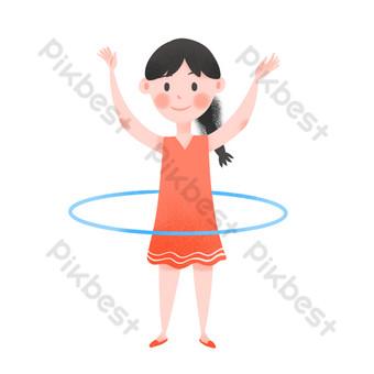 فتاة لطيفة تلعب الهولا هوب ليوم الأطفال صور PNG قالب PSD
